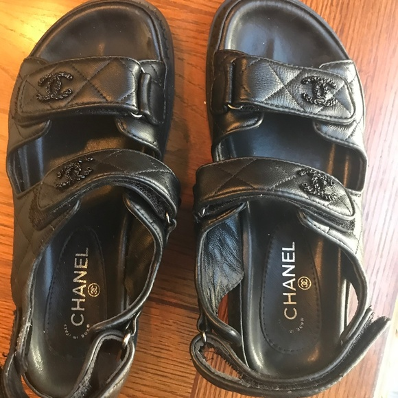 Chanel Quilted Velcro Sandals